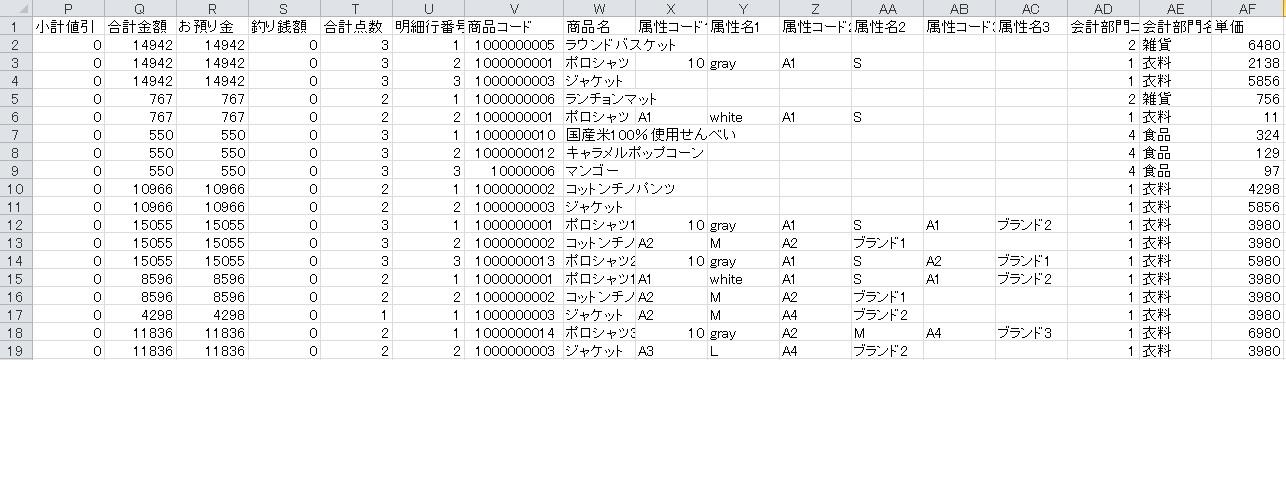 iPad POSレジの売上一覧画面