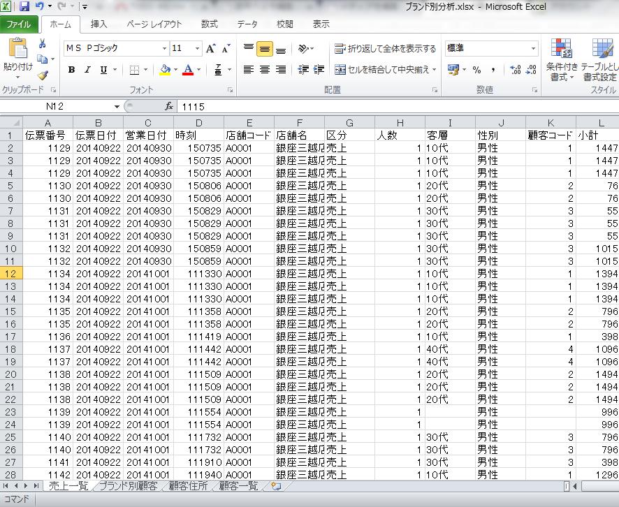 売上一覧用サンプルデータ加工1